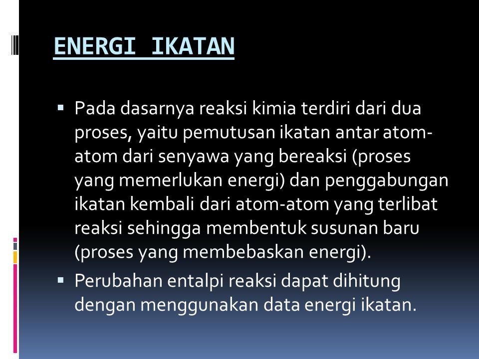 ENERGI IKATAN  Pada dasarnya reaksi kimia terdiri dari dua proses, yaitu pemutusan ikatan antar atom- atom dari senyawa yang bereaksi (proses yang me