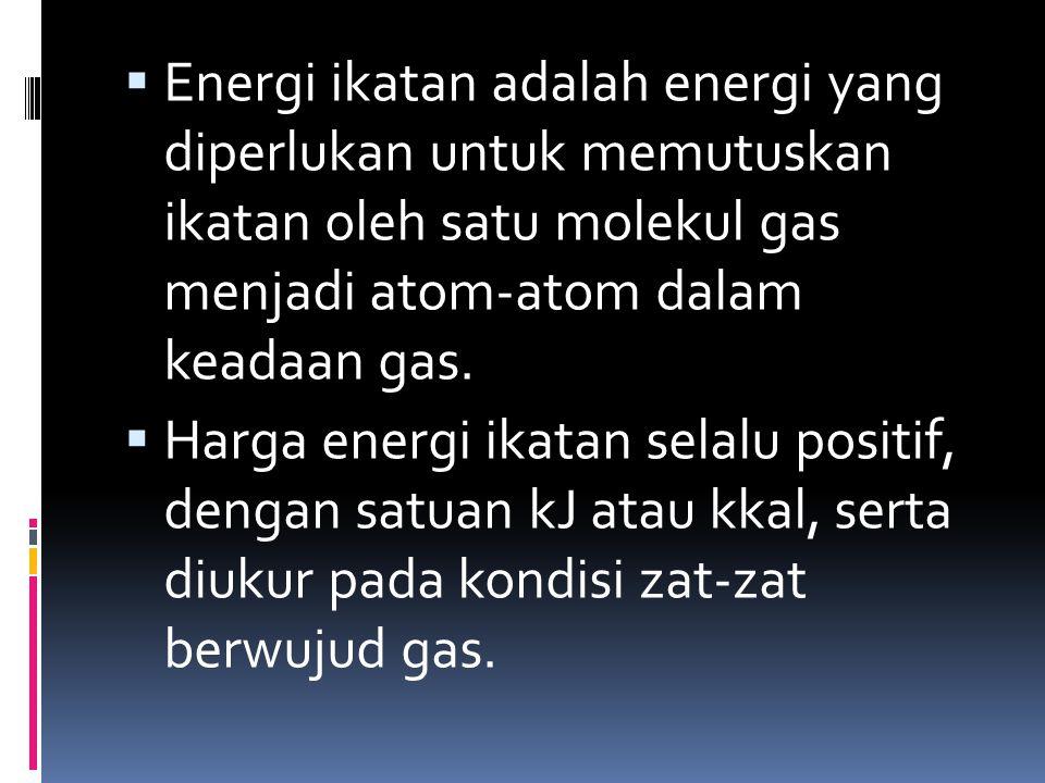  Energi ikatan adalah energi yang diperlukan untuk memutuskan ikatan oleh satu molekul gas menjadi atom-atom dalam keadaan gas.  Harga energi ikatan