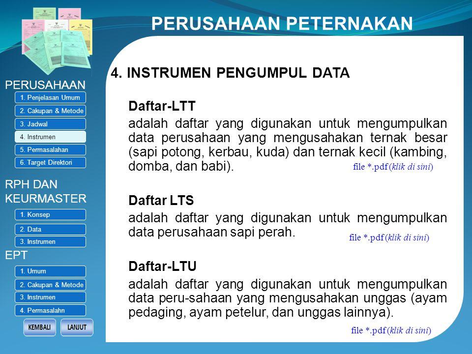 3. JADWAL PENGUMPULAN DATA PERUSAHAAN RPH DAN KEURMASTER EPT 1. Penjelasan Umum 2. Cakupan & Metode 3. Jadwal 4. Instrumen 5. Permasalahan 6. Target D