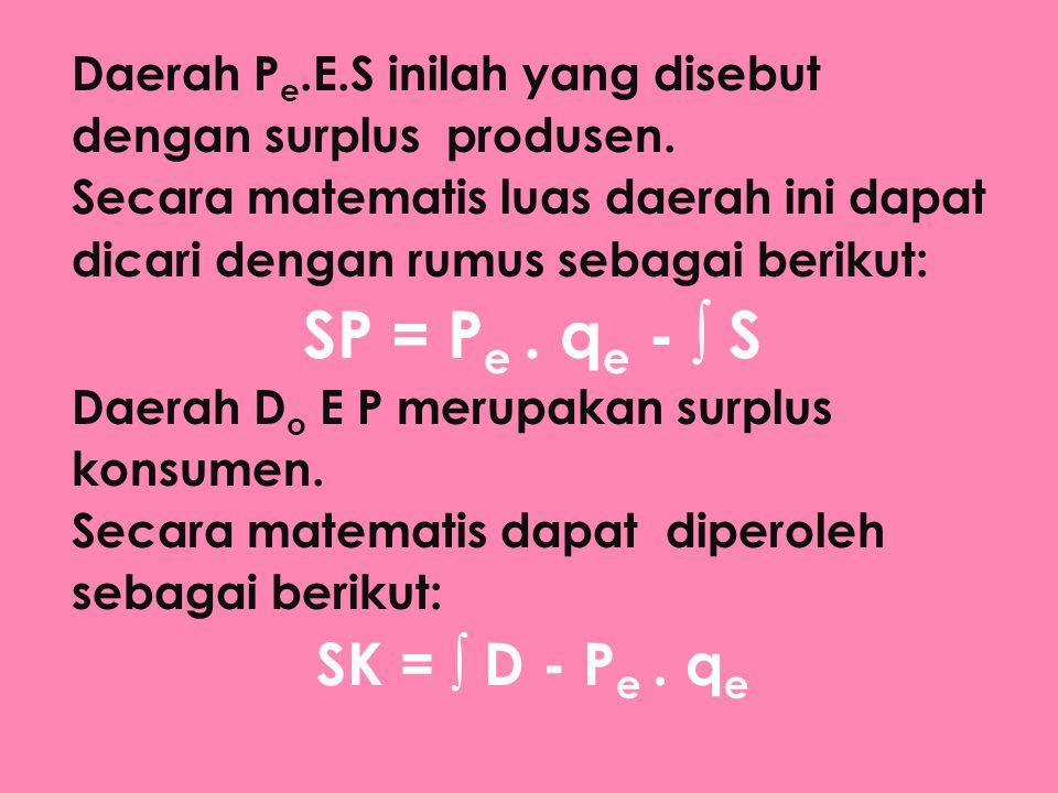 Daerah P e.E.S inilah yang disebut dengan surplus produsen. Secara matematis luas daerah ini dapat dicari dengan rumus sebagai berikut: SP = P e. q e