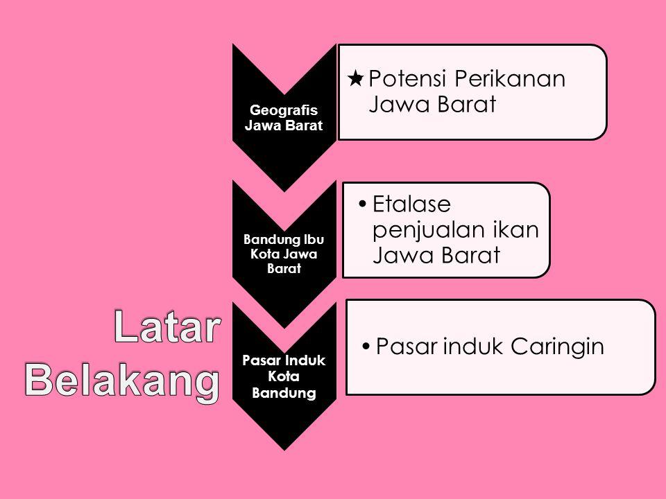 Geografis Jawa Barat •Potensi Perikanan Jawa Barat Bandung Ibu Kota Jawa Barat •Etalase penjualan ikan Jawa Barat Pasar Induk Kota Bandung •Pasar indu