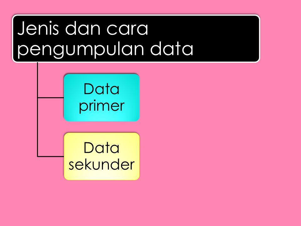Jenis dan cara pengumpulan data Data primer Data sekunder