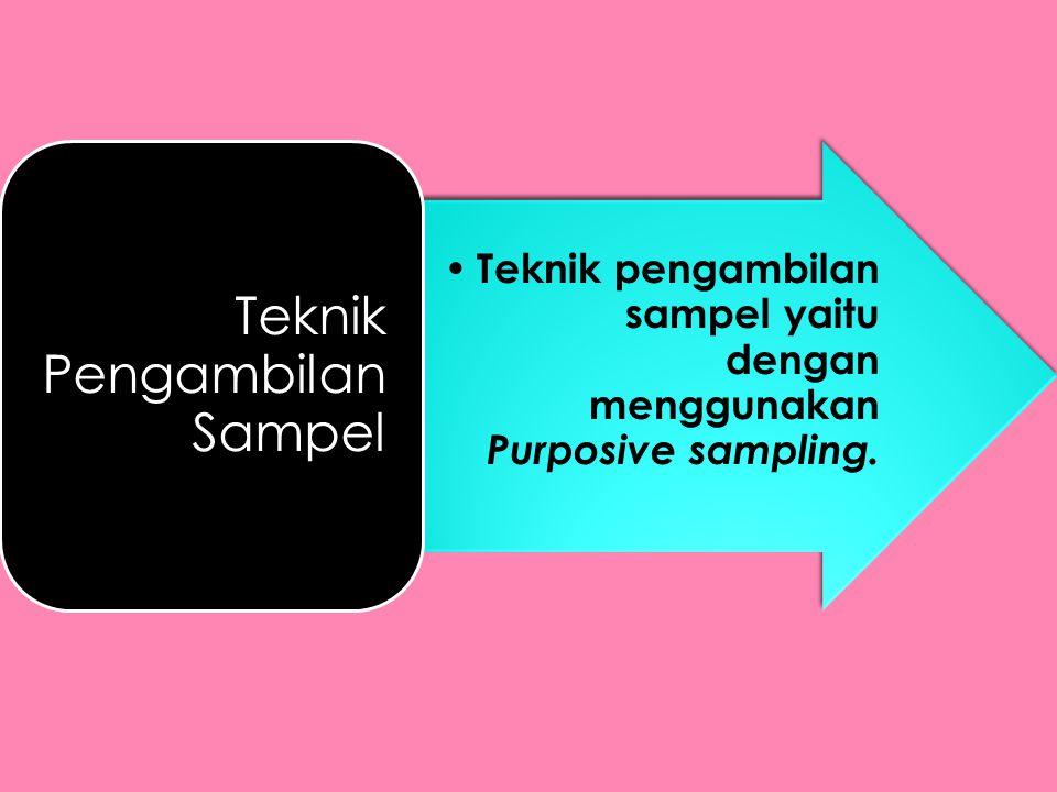 • Teknik pengambilan sampel yaitu dengan menggunakan Purposive sampling. Teknik Pengambilan Sampel