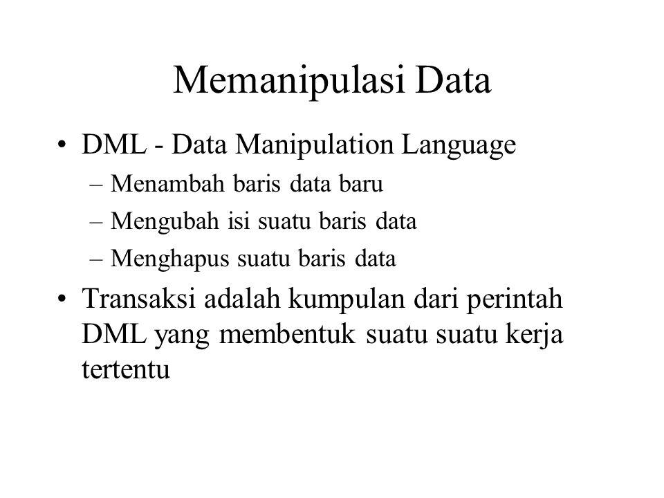 Memanipulasi Data •DML - Data Manipulation Language –Menambah baris data baru –Mengubah isi suatu baris data –Menghapus suatu baris data •Transaksi adalah kumpulan dari perintah DML yang membentuk suatu suatu kerja tertentu