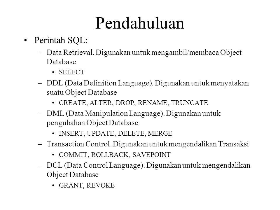 Penulisan SQL SELECT Dasar •Pembagian/Kemampuan perintah SELECT –Proyeksi : Memilih Kolom –Seleksi : Memilih Baris –Join : Penggabungan tabel •Format : –SELECT * {[DISTINCT] kolom ekspresi [alias],…} FROM tabel •SELECT artinya memilih kolom mana yang akan ditampilkan (proyeksi) –Dapat berupa list kolom, suatu persamaan (operasi aritmatika), fungsi, obyek tertentu –Dapat diberikan alias (nama lain) pada masing-masing list •FROM menunjukkan nama Tabel yang akan ditampilkan –Dapat berupa tabel tunggal, join, view, inline view
