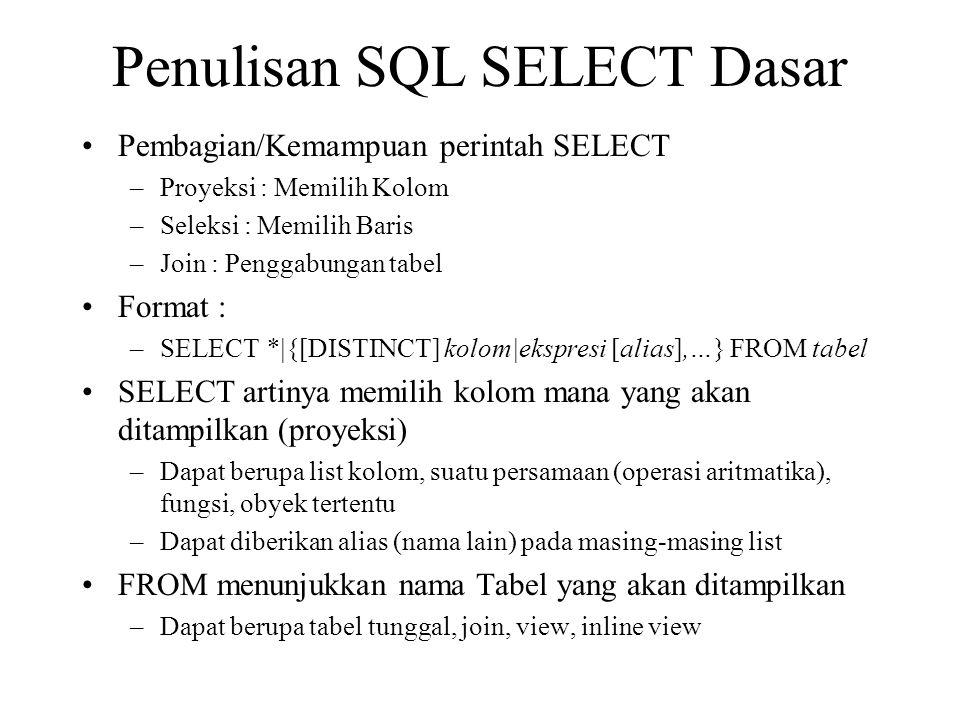 Penulisan SQL SELECT Dasar •Pembagian/Kemampuan perintah SELECT –Proyeksi : Memilih Kolom –Seleksi : Memilih Baris –Join : Penggabungan tabel •Format : –SELECT *|{[DISTINCT] kolom|ekspresi [alias],…} FROM tabel •SELECT artinya memilih kolom mana yang akan ditampilkan (proyeksi) –Dapat berupa list kolom, suatu persamaan (operasi aritmatika), fungsi, obyek tertentu –Dapat diberikan alias (nama lain) pada masing-masing list •FROM menunjukkan nama Tabel yang akan ditampilkan –Dapat berupa tabel tunggal, join, view, inline view