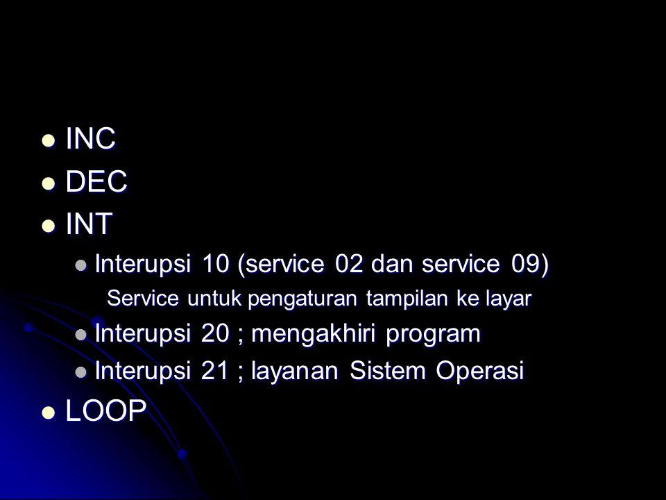  INC  DEC  INT  Interupsi 10 (service 02 dan service 09) Service untuk pengaturan tampilan ke layar  Interupsi 20 ; mengakhiri program  Interups
