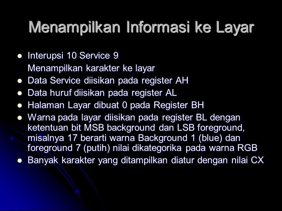 Menampilkan Informasi ke Layar  Interupsi 10 Service 9 Menampilkan karakter ke layar  Data Service diisikan pada register AH  Data huruf diisikan p