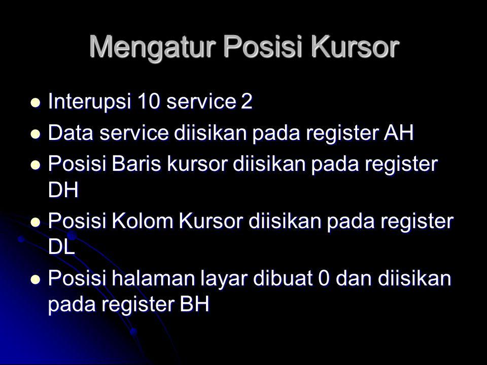 Mengatur Posisi Kursor  Interupsi 10 service 2  Data service diisikan pada register AH  Posisi Baris kursor diisikan pada register DH  Posisi Kolo
