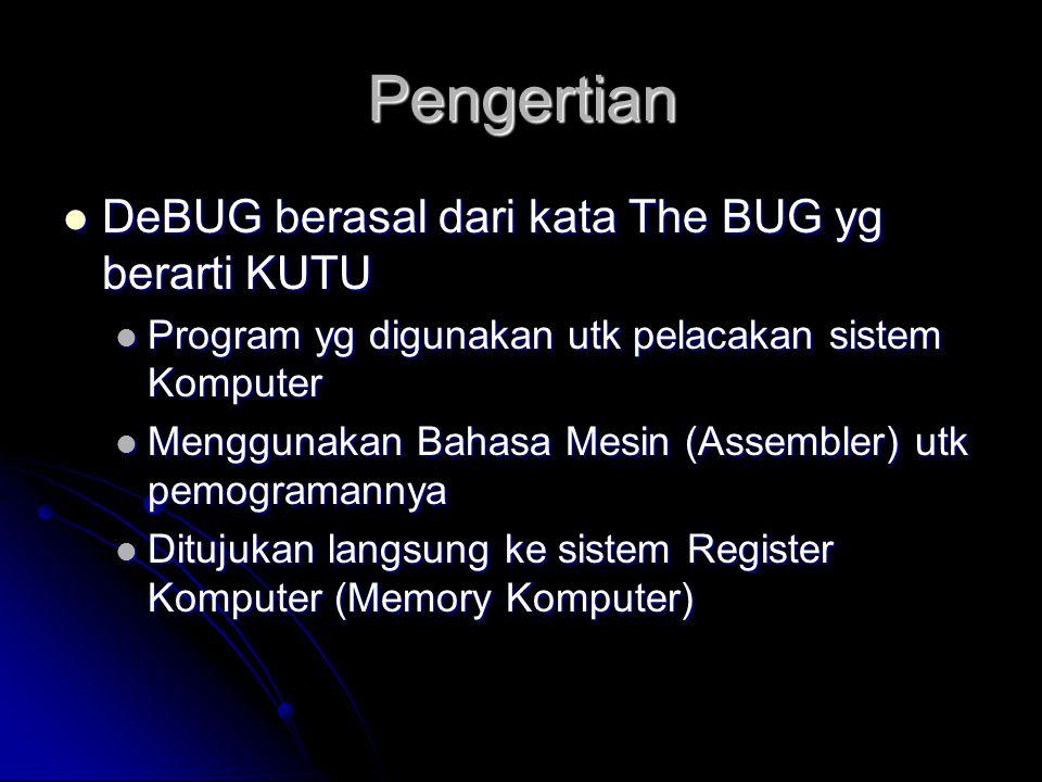 Pengertian  DeBUG berasal dari kata The BUG yg berarti KUTU  Program yg digunakan utk pelacakan sistem Komputer  Menggunakan Bahasa Mesin (Assemble