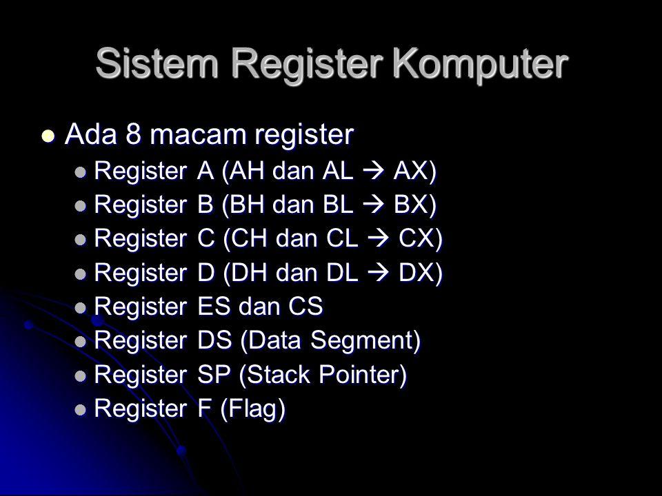  Register yang paling umum digunakan dan terlibat langsung dalam operasi Prosesor antara lain :  A (Accumulator) : digunakan untuk penampungan data umum  B (Base) : digunakan untuk nilai dasar  C (Counter) : digunakan untuk nilai pengulangan  D (Data) : digunakan utk penyimpanan data pengolahan