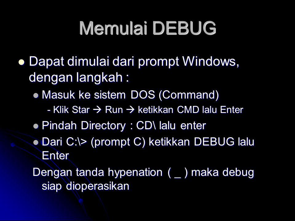 Memulai DEBUG  Dapat dimulai dari prompt Windows, dengan langkah :  Masuk ke sistem DOS (Command) - Klik Star  Run  ketikkan CMD lalu Enter  Pind