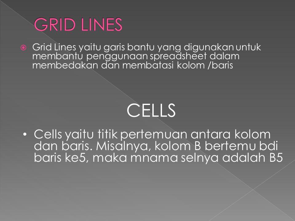  Grid Lines yaitu garis bantu yang digunakan untuk membantu penggunaan spreadsheet dalam membedakan dan membatasi kolom /baris CELLS • Cells yaitu ti