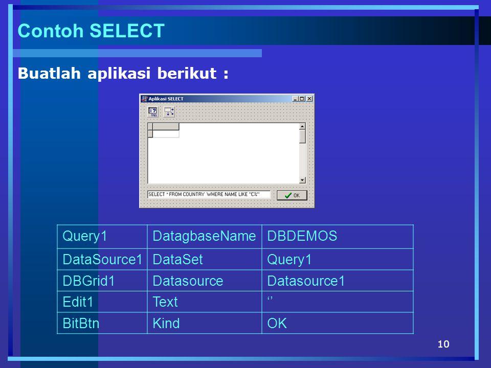 10 Contoh SELECT Buatlah aplikasi berikut : Query1DatagbaseNameDBDEMOS DataSource1DataSetQuery1 DBGrid1DatasourceDatasource1 Edit1Text'' BitBtnKindOK