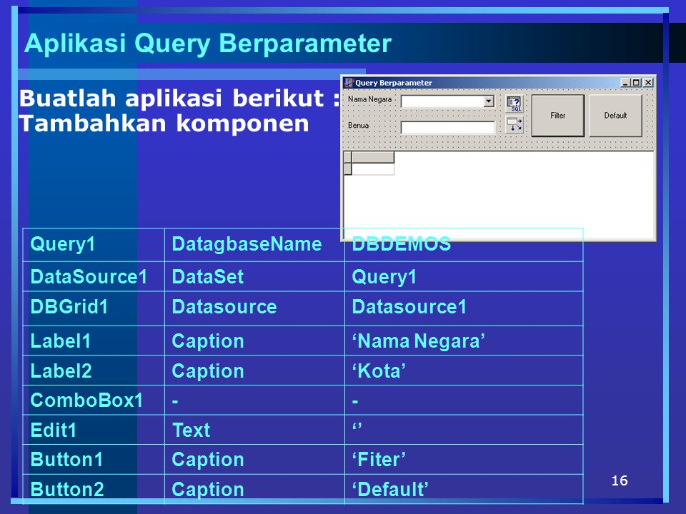 16 Aplikasi Query Berparameter Buatlah aplikasi berikut : Tambahkan komponen Query1DatagbaseNameDBDEMOS DataSource1DataSetQuery1 DBGrid1DatasourceDatasource1 Label1Caption'Nama Negara' Label2Caption'Kota' ComboBox1-- Edit1Text'' Button1Caption'Fiter' Button2Caption'Default'