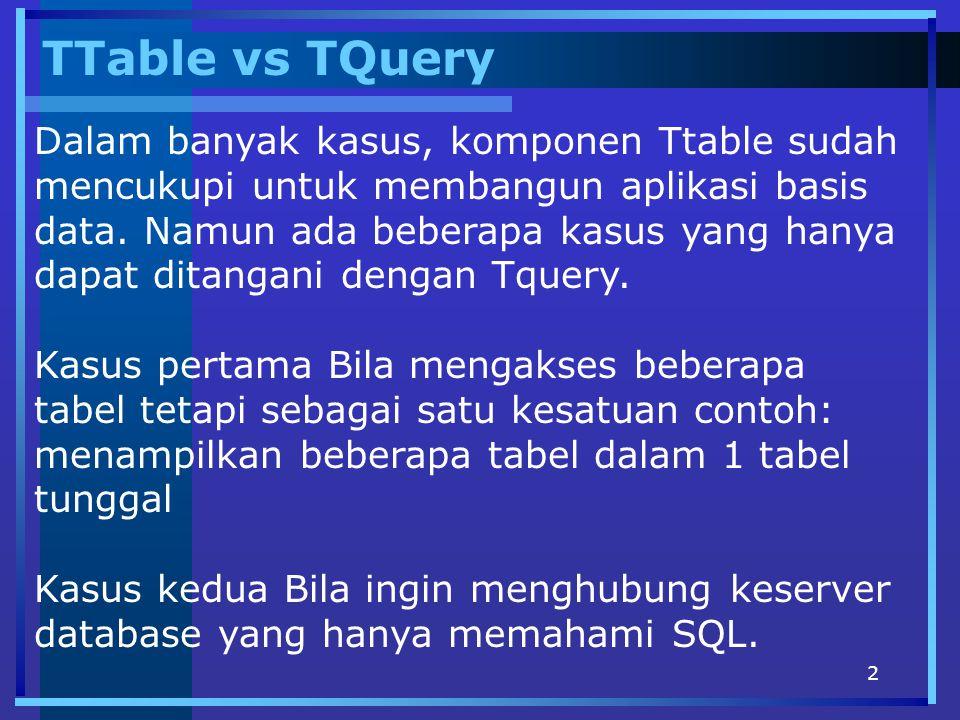 2 TTable vs TQuery Dalam banyak kasus, komponen Ttable sudah mencukupi untuk membangun aplikasi basis data. Namun ada beberapa kasus yang hanya dapat