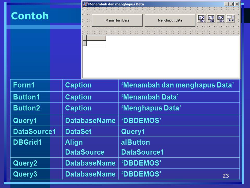 23 Contoh Form1Caption'Menambah dan menghapus Data' Button1Caption'Menambah Data' Button2Caption'Menghapus Data' Query1DatabaseName'DBDEMOS' DataSource1DataSetQuery1 DBGrid1Align DataSource alButton DataSource1 Query2DatabaseName'DBDEMOS' Query3DatabaseName'DBDEMOS'