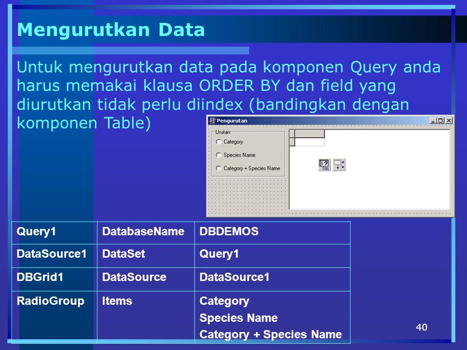 40 Mengurutkan Data Untuk mengurutkan data pada komponen Query anda harus memakai klausa ORDER BY dan field yang diurutkan tidak perlu diindex (bandingkan dengan komponen Table) Query1DatabaseNameDBDEMOS DataSource1DataSetQuery1 DBGrid1DataSourceDataSource1 RadioGroupItemsCategory Species Name Category + Species Name