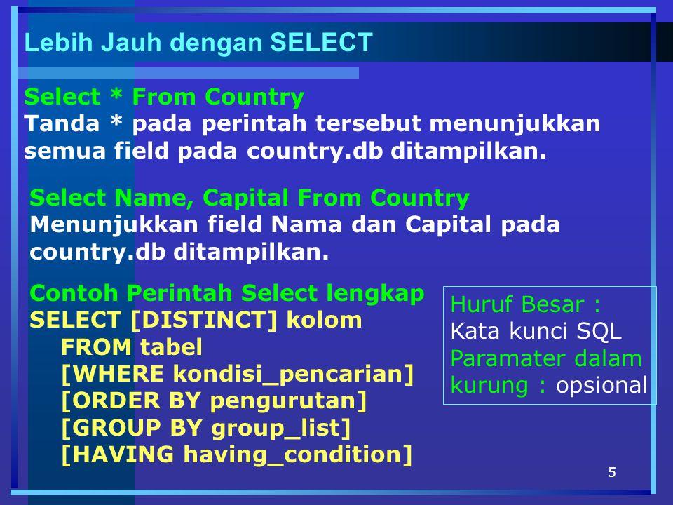 5 Lebih Jauh dengan SELECT Select * From Country Tanda * pada perintah tersebut menunjukkan semua field pada country.db ditampilkan. Select Name, Capi