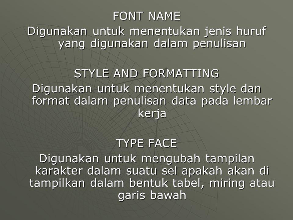 FONT NAME Digunakan untuk menentukan jenis huruf yang digunakan dalam penulisan STYLE AND FORMATTING Digunakan untuk menentukan style dan format dalam