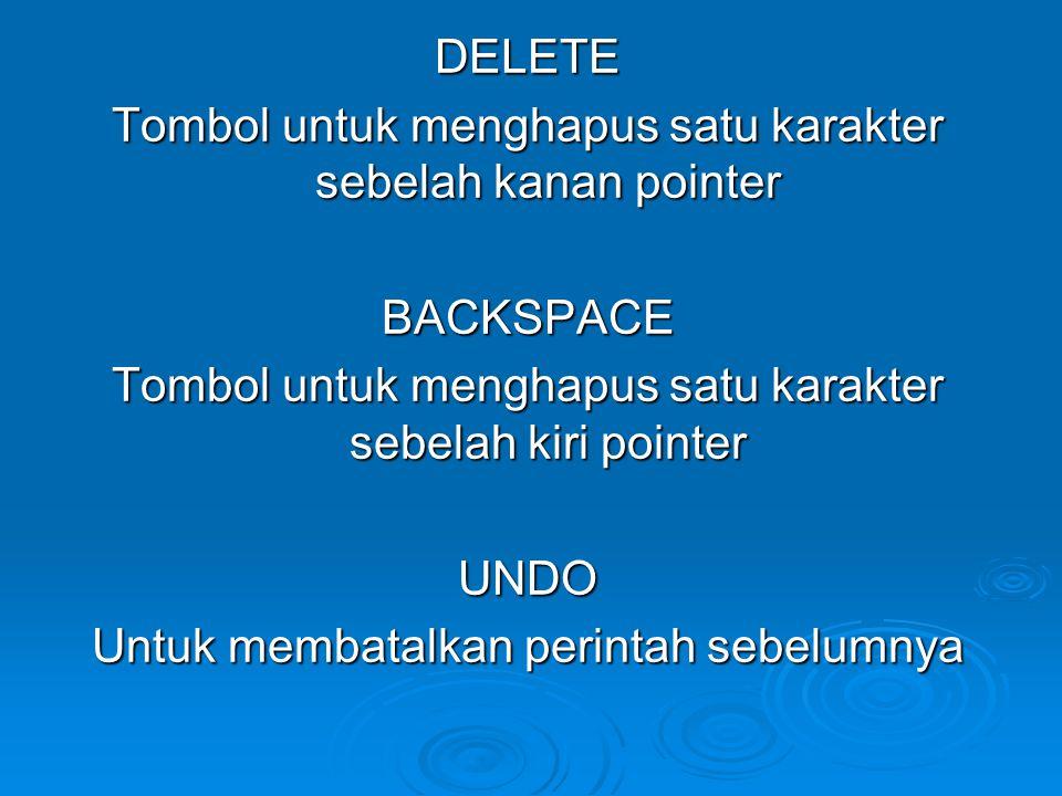 Esc Membatalkan perintah memasukkan data pada sel SAVE Menyimpan data pada lembar kerja (file baru dan juga file yang di ubah isinya pada dokumen yang sama) SAVE AS Menyimpan dokumen dengan mengganti nama file
