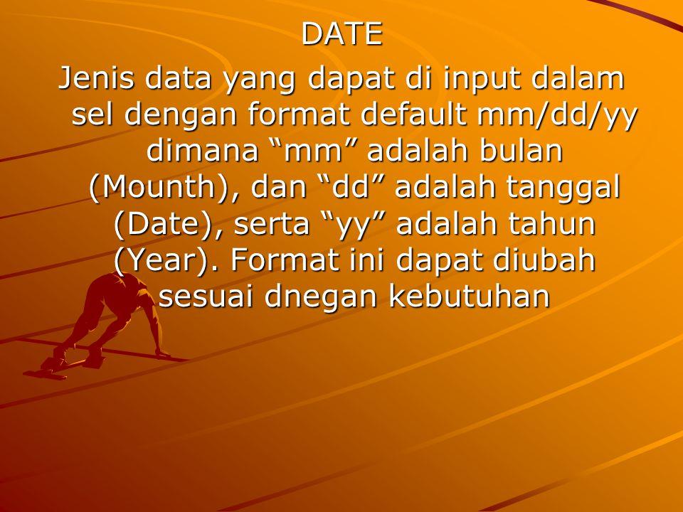 "DATE Jenis data yang dapat di input dalam sel dengan format default mm/dd/yy dimana ""mm"" adalah bulan (Mounth), dan ""dd"" adalah tanggal (Date), serta"