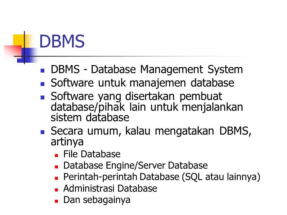 DBMS  DBMS - Database Management System  Software untuk manajemen database  Software yang disertakan pembuat database/pihak lain untuk menjalankan
