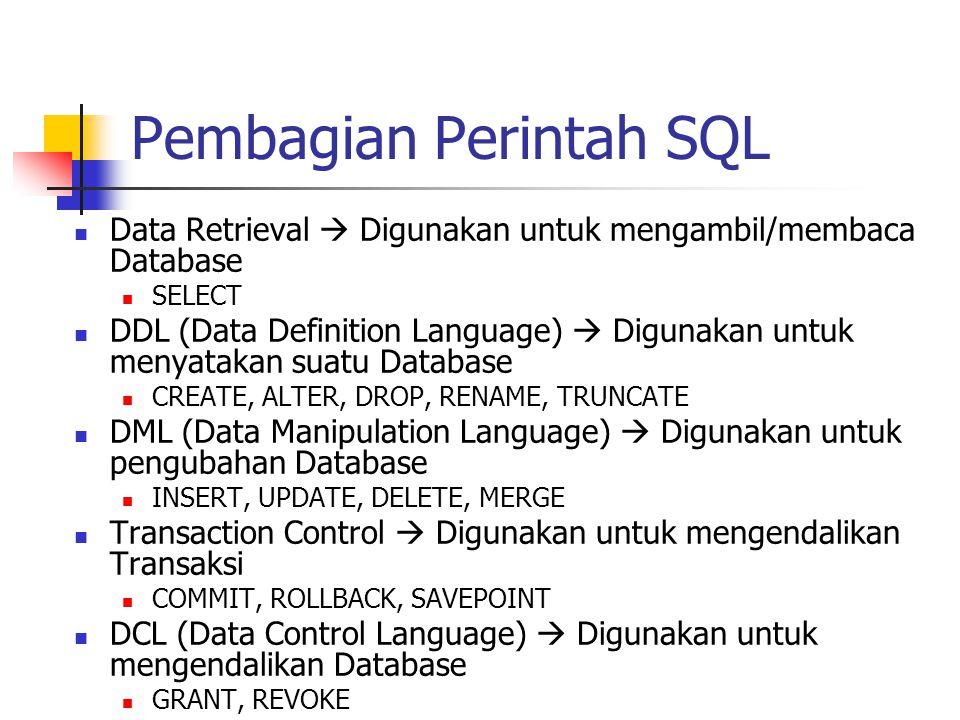 Pembagian Perintah SQL  Data Retrieval  Digunakan untuk mengambil/membaca Database  SELECT  DDL (Data Definition Language)  Digunakan untuk menya
