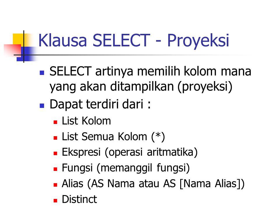 Klausa SELECT - Proyeksi  SELECT artinya memilih kolom mana yang akan ditampilkan (proyeksi)  Dapat terdiri dari :  List Kolom  List Semua Kolom (