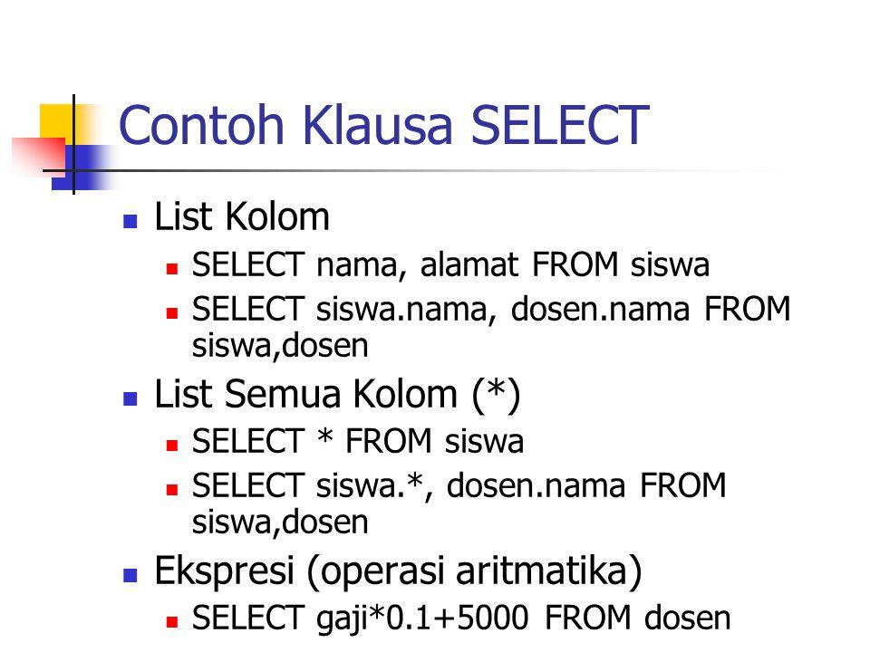 Contoh Klausa SELECT  List Kolom  SELECT nama, alamat FROM siswa  SELECT siswa.nama, dosen.nama FROM siswa,dosen  List Semua Kolom (*)  SELECT *