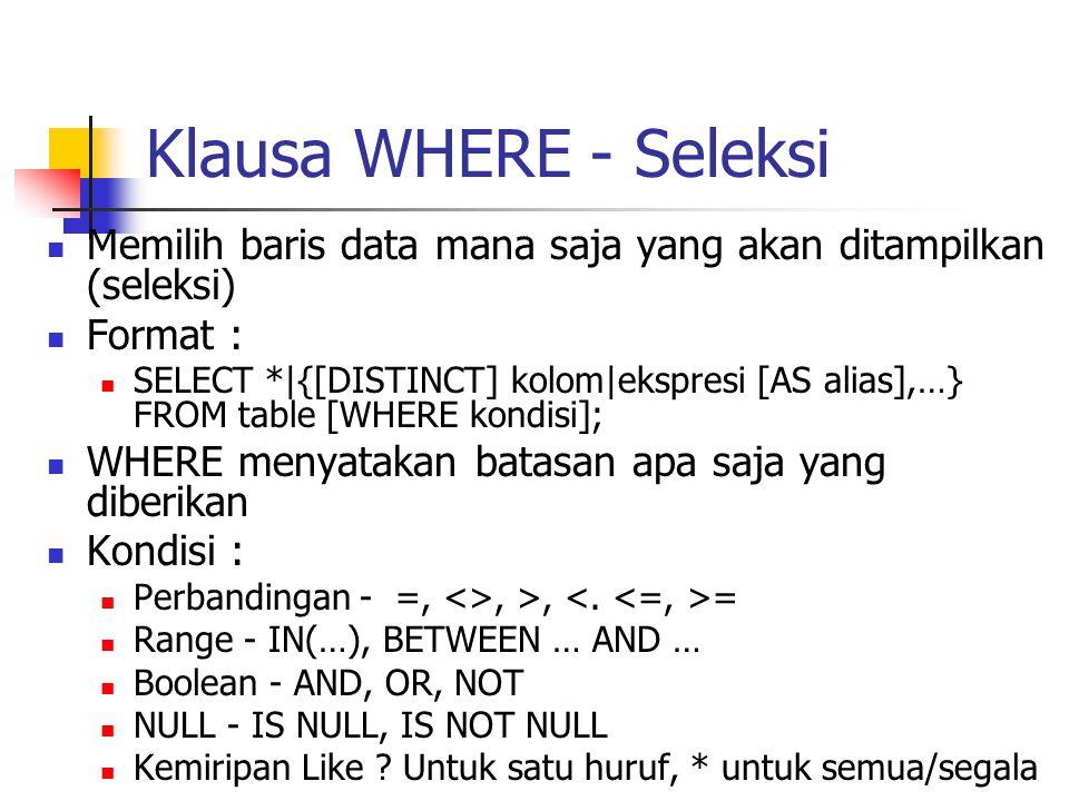 Klausa WHERE - Seleksi  Memilih baris data mana saja yang akan ditampilkan (seleksi)  Format :  SELECT *|{[DISTINCT] kolom|ekspresi [AS alias],…} F