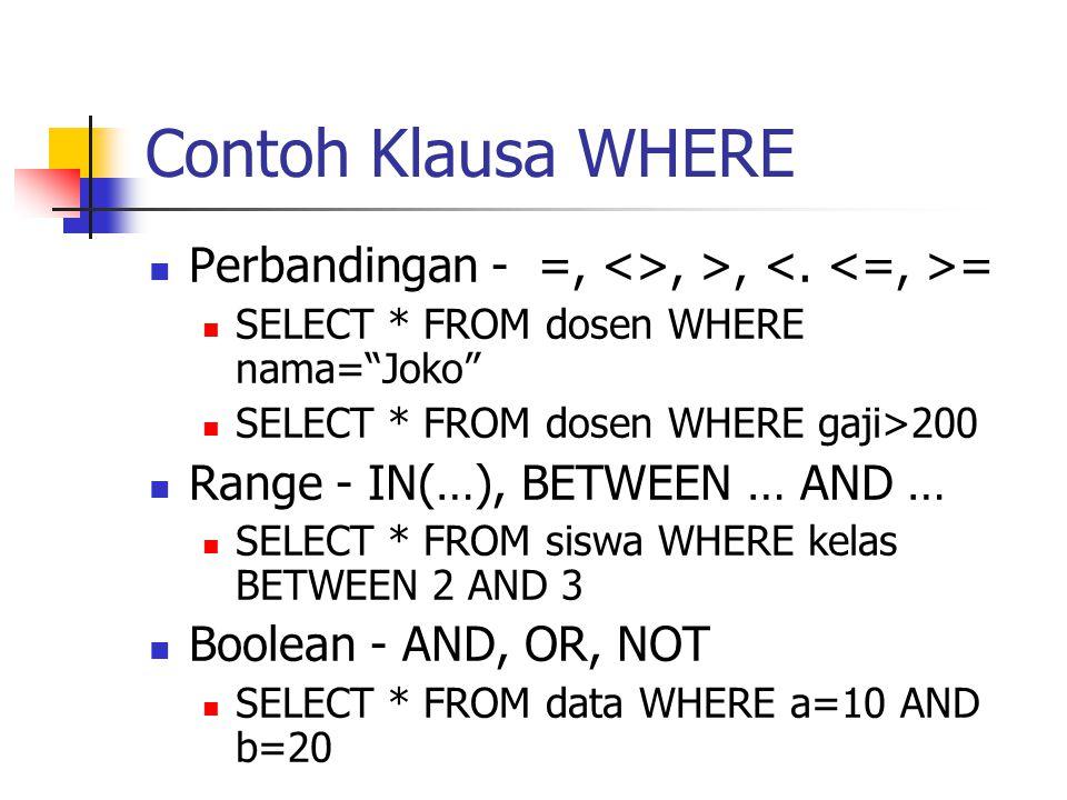 """Contoh Klausa WHERE  Perbandingan - =, <>, >, =  SELECT * FROM dosen WHERE nama=""""Joko""""  SELECT * FROM dosen WHERE gaji>200  Range - IN(…), BETWEEN"""