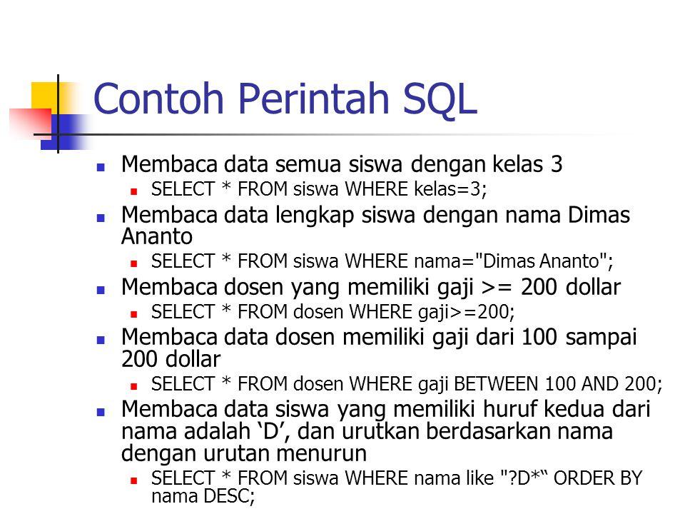 Contoh Perintah SQL  Membaca data semua siswa dengan kelas 3  SELECT * FROM siswa WHERE kelas=3;  Membaca data lengkap siswa dengan nama Dimas Anan