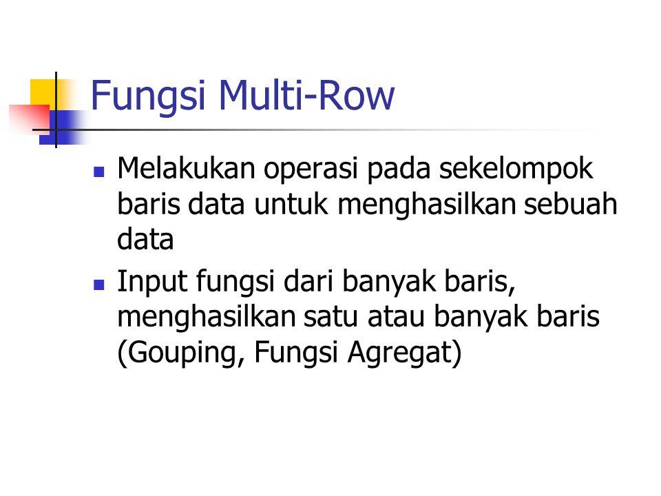 Fungsi Multi-Row  Melakukan operasi pada sekelompok baris data untuk menghasilkan sebuah data  Input fungsi dari banyak baris, menghasilkan satu ata