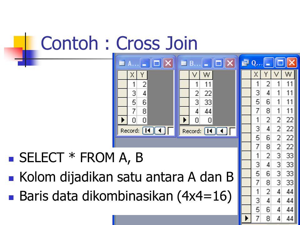 Contoh : Cross Join  SELECT * FROM A, B  Kolom dijadikan satu antara A dan B  Baris data dikombinasikan (4x4=16)