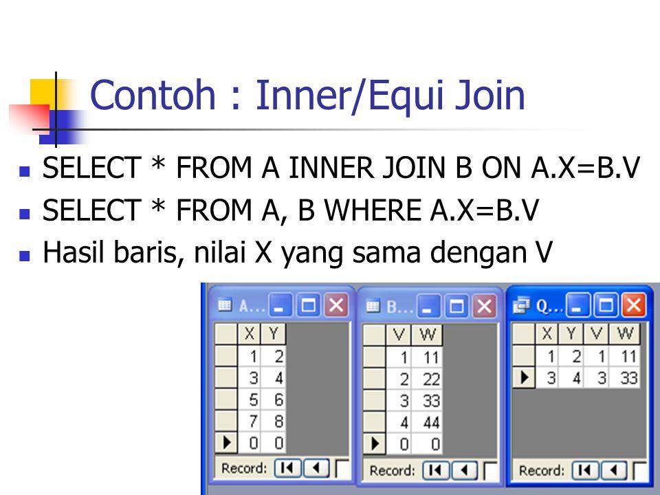 Contoh : Inner/Equi Join  SELECT * FROM A INNER JOIN B ON A.X=B.V  SELECT * FROM A, B WHERE A.X=B.V  Hasil baris, nilai X yang sama dengan V