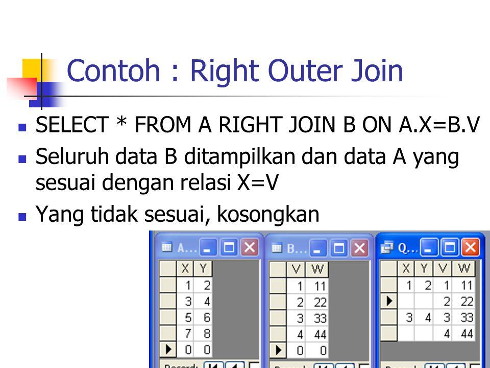 Contoh : Right Outer Join  SELECT * FROM A RIGHT JOIN B ON A.X=B.V  Seluruh data B ditampilkan dan data A yang sesuai dengan relasi X=V  Yang tidak