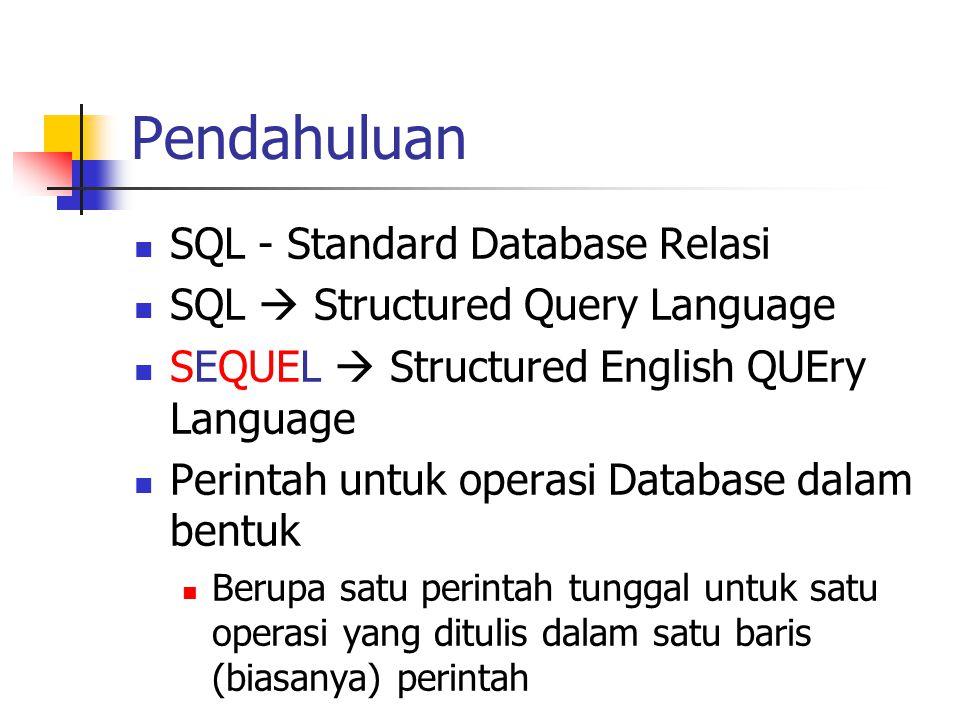 Pendahuluan  SQL - Standard Database Relasi  SQL  Structured Query Language  SEQUEL  Structured English QUEry Language  Perintah untuk operasi D