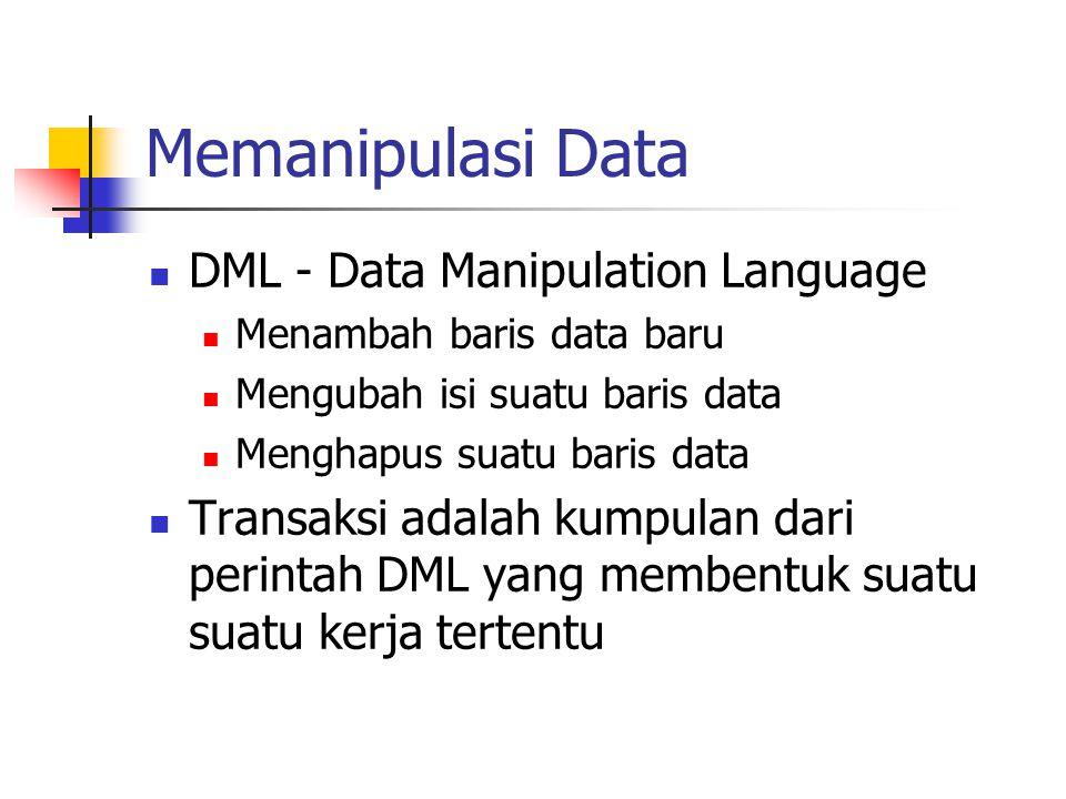 Memanipulasi Data  DML - Data Manipulation Language  Menambah baris data baru  Mengubah isi suatu baris data  Menghapus suatu baris data  Transak