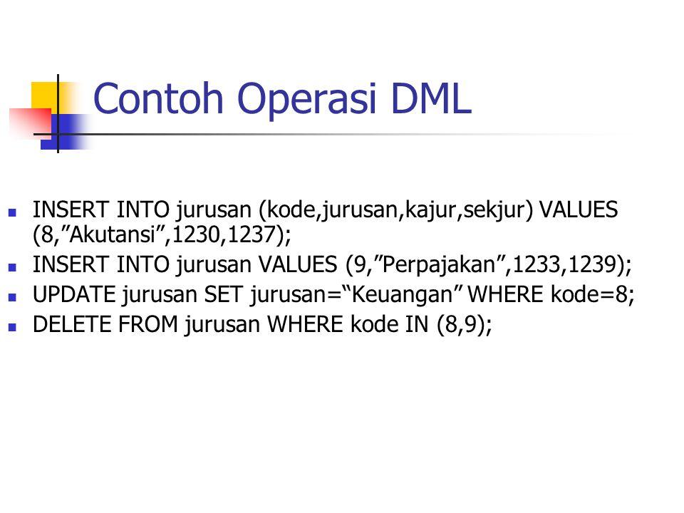 """Contoh Operasi DML  INSERT INTO jurusan (kode,jurusan,kajur,sekjur) VALUES (8,""""Akutansi"""",1230,1237);  INSERT INTO jurusan VALUES (9,""""Perpajakan"""",123"""