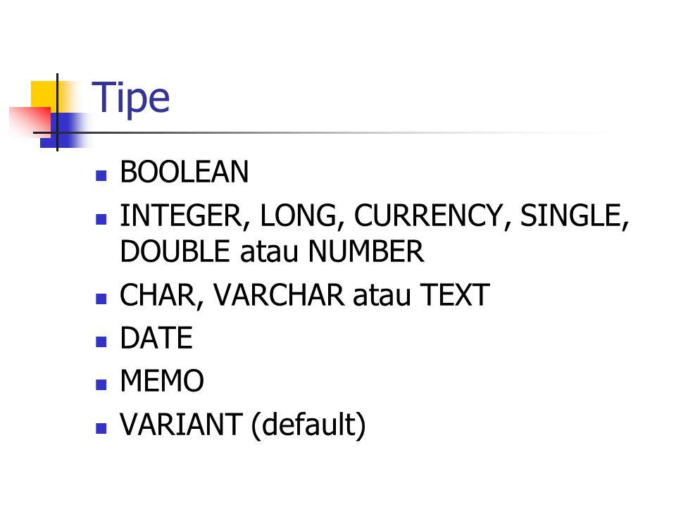 Tipe  BOOLEAN  INTEGER, LONG, CURRENCY, SINGLE, DOUBLE atau NUMBER  CHAR, VARCHAR atau TEXT  DATE  MEMO  VARIANT (default)