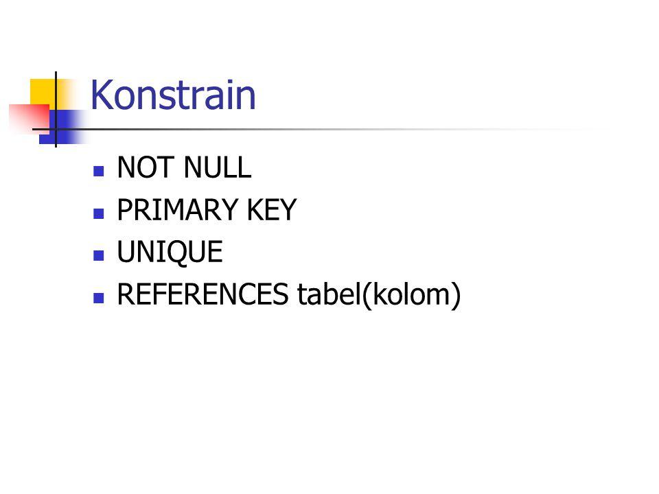 Konstrain  NOT NULL  PRIMARY KEY  UNIQUE  REFERENCES tabel(kolom)