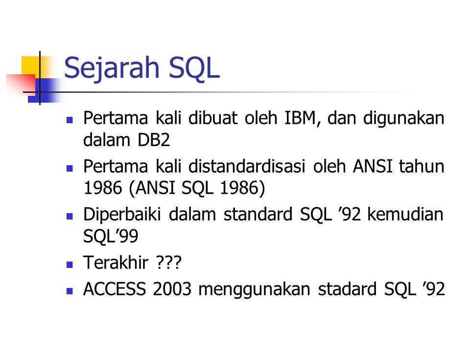 Sejarah SQL  Pertama kali dibuat oleh IBM, dan digunakan dalam DB2  Pertama kali distandardisasi oleh ANSI tahun 1986 (ANSI SQL 1986)  Diperbaiki d