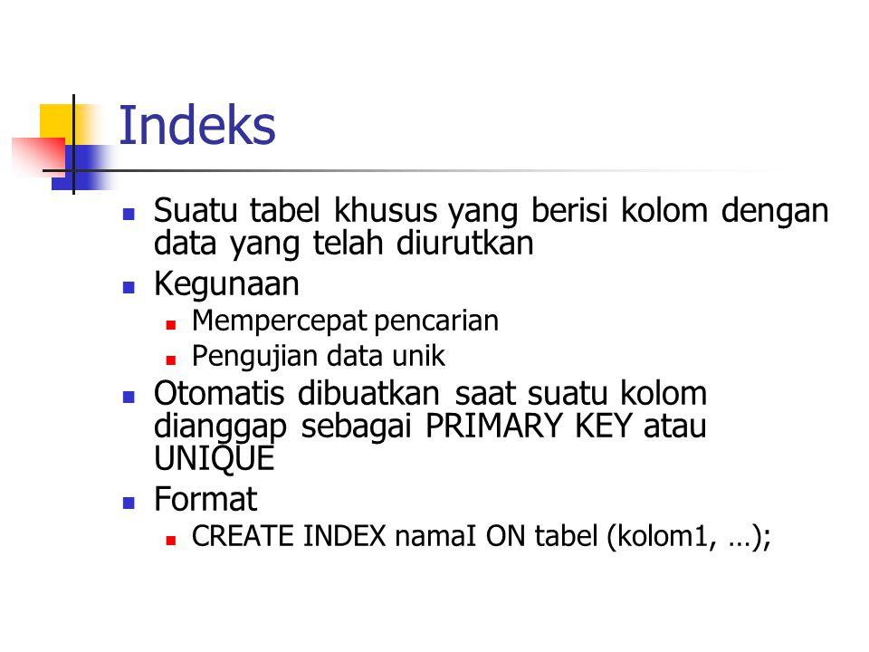 Indeks  Suatu tabel khusus yang berisi kolom dengan data yang telah diurutkan  Kegunaan  Mempercepat pencarian  Pengujian data unik  Otomatis dib