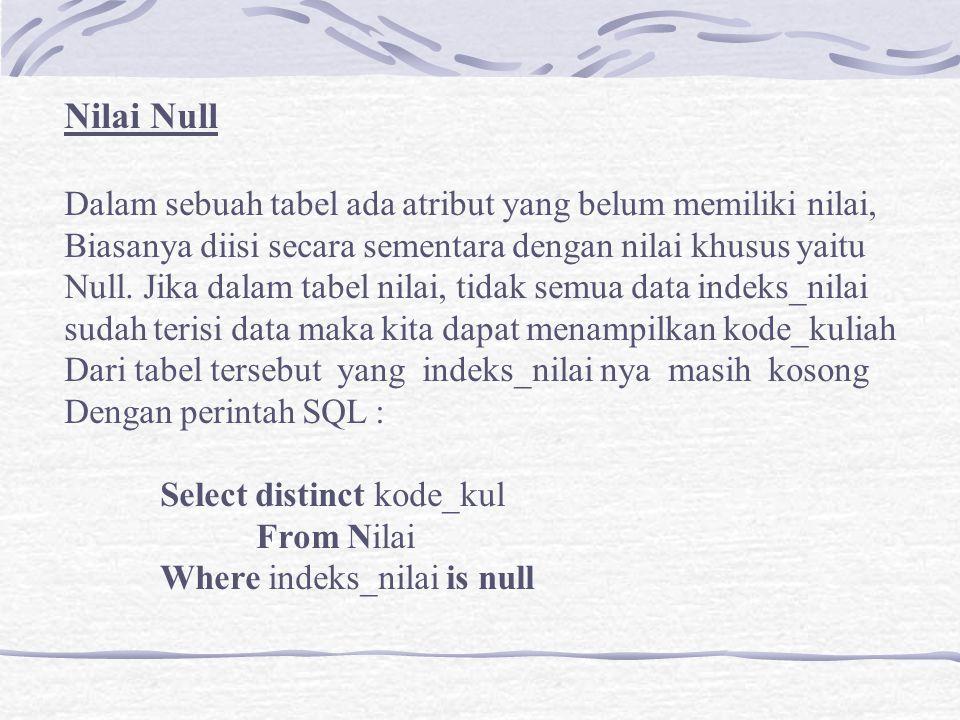 Nilai Null Dalam sebuah tabel ada atribut yang belum memiliki nilai, Biasanya diisi secara sementara dengan nilai khusus yaitu Null. Jika dalam tabel