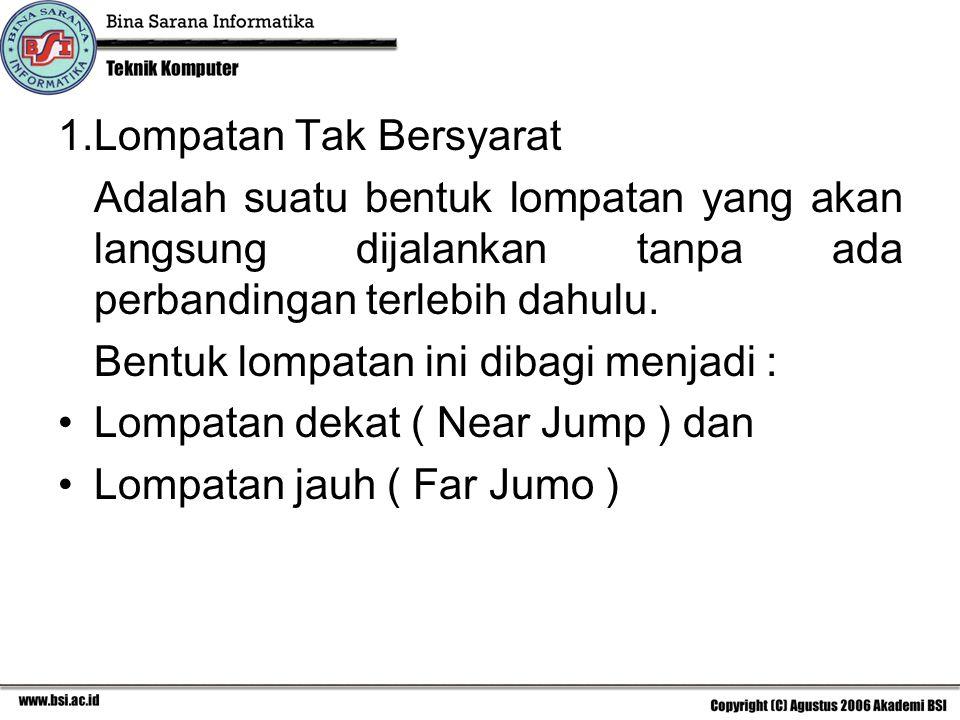 1.Lompatan Tak Bersyarat Adalah suatu bentuk lompatan yang akan langsung dijalankan tanpa ada perbandingan terlebih dahulu. Bentuk lompatan ini dibagi
