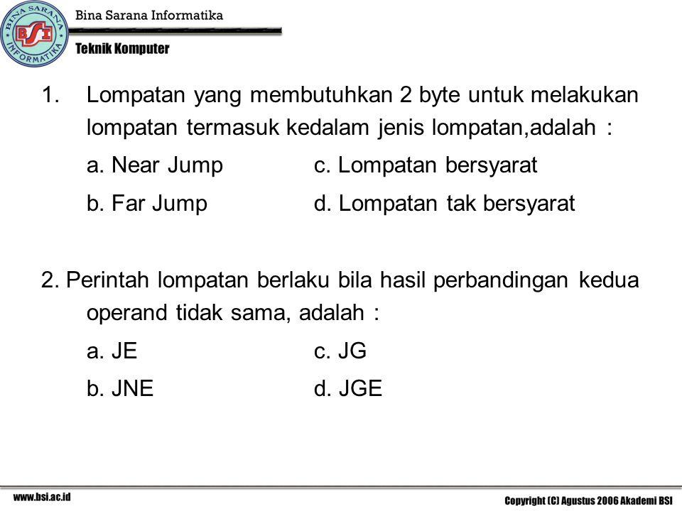 1.Lompatan yang membutuhkan 2 byte untuk melakukan lompatan termasuk kedalam jenis lompatan,adalah : a.