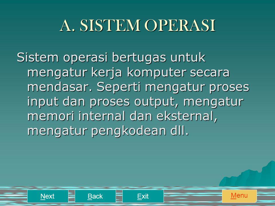 A.SISTEM OPERASI Sistem operasi bertugas untuk mengatur kerja komputer secara mendasar.
