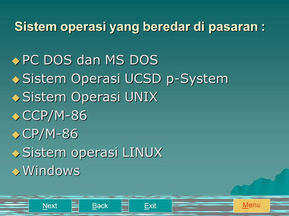 Sistem operasi yang beredar di pasaran :  PC DOS dan MS DOS  Sistem Operasi UCSD p-System  Sistem Operasi UNIX  CCP/M-86  CP/M-86  Sistem operasi LINUX  Windows NextBackExit Menu