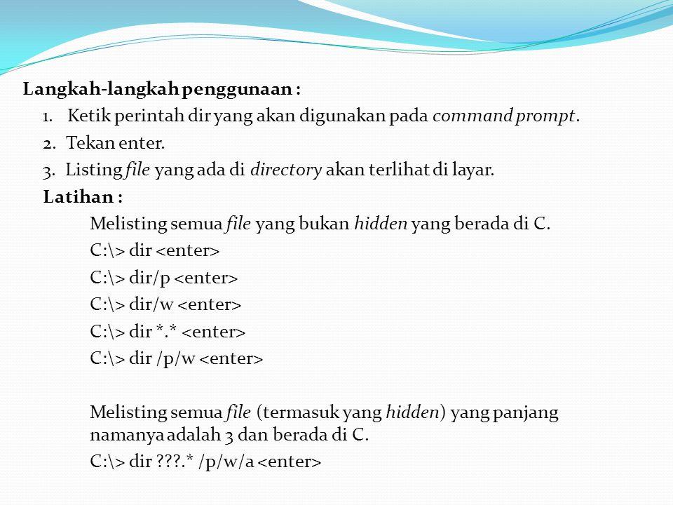 6.Perintah md / mkdir Digunakan untuk membuat directory.